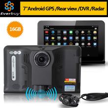 New 7 inch Android GPS Navigation rear view Car Radar Detector Car DVR 1080P Truck vehicle gps Navi AVIN/FM/Free map AV-IN 16GB