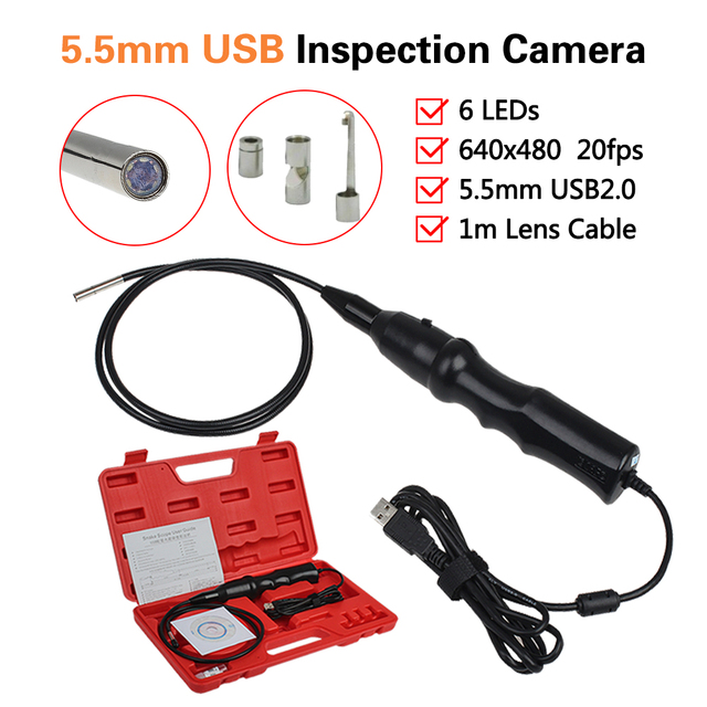5.5mm USB Endoscope 6 LEDs Inspection Snake Camera Borescope+Magnet+Hook+Mirror car diagnosis Free shipping