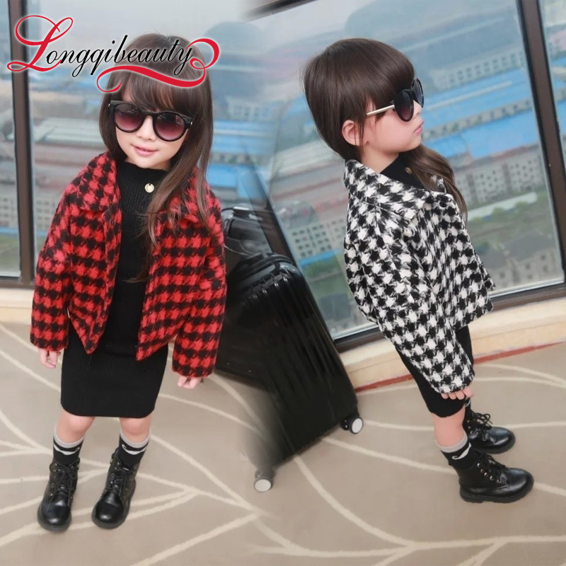 2015 New Winter Autumn Children s clothing Little Girls Fashion Small Plaid Warm Jacket Kids Girls