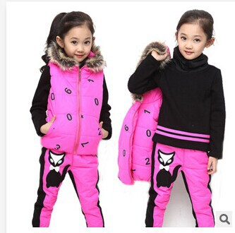 2014 new fashion kids suits winter models of child little fox girls winter thick three-piece suit girls sets free shipping(China (Mainland))