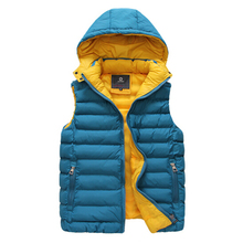 [ELITE] 2015 Fall/Winter Men's/Women's Hood Vest Waistcoat Warm Fashion Cotton-padded Vests Casual Sleeveless Winter Jacket(China (Mainland))