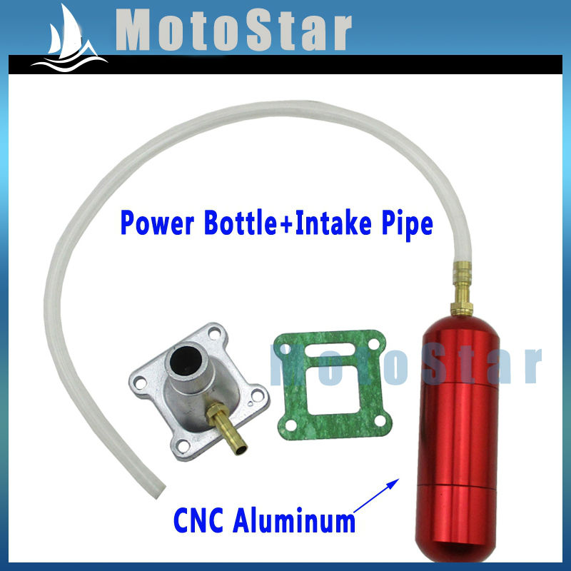 Aluminum Red Boost Power Bottle + Intake Pipe Gasket For 2 Stroke 43cc 47cc 49cc Mini Moto Kids ATV Quad Dirt Pocket Bike(China (Mainland))