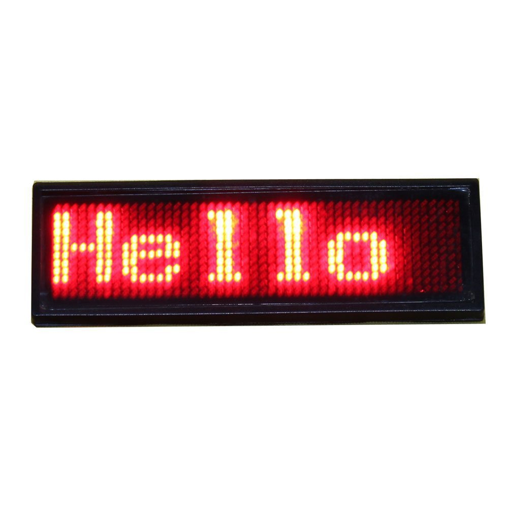 Red color LED Programmable rechargeable Scrolling Name Message Badge Tag Digital Display English Russian, etc many languages(China (Mainland))