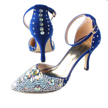 Handmade pointed toe D'orsay ankle strap woman high heels sexy rhinestone crystal pumps dress shoes blue wedding party prom(China (Mainland))