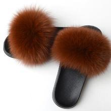 RASS PLE 2019 Echt Fuchs Hausschuhe Flauschigen Hausschuhe Fuchs Pelz Rutschen Fuzzy Sliders Weichen Plüsch Fell Maultiere Sommer Schuhe Frauen(China)