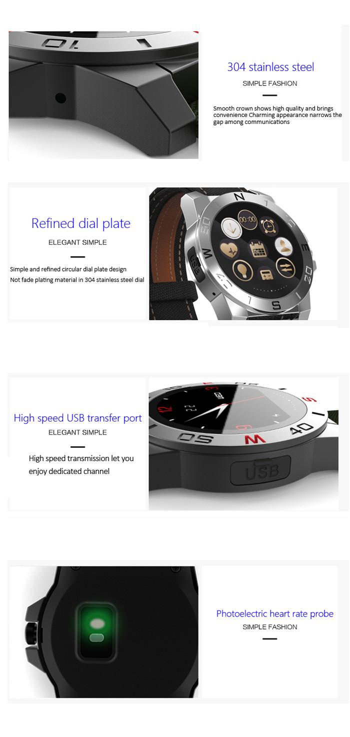 ถูก N10บลูทูธ4.0กีฬาสมาร์ทดูกับเข็มทิศเครื่องวัดอุณหภูมิวัดบารอมิเตอร์IP67 H Eart Rate Monitorผ้าใบ+หนังวง