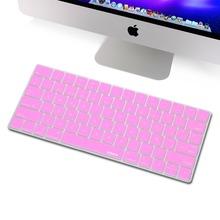 for Magic Keyboard Spanish Skin Protector, XSKN Spanish Language Silicone Keyboard Cover for Apple Wireless Magic Keyboard, Pink