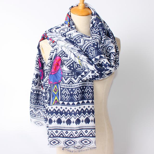 2016 новое поступление зима мода женщины чешские оригинальный племени национального ветра тигр и перо напечатаны длинный шарф