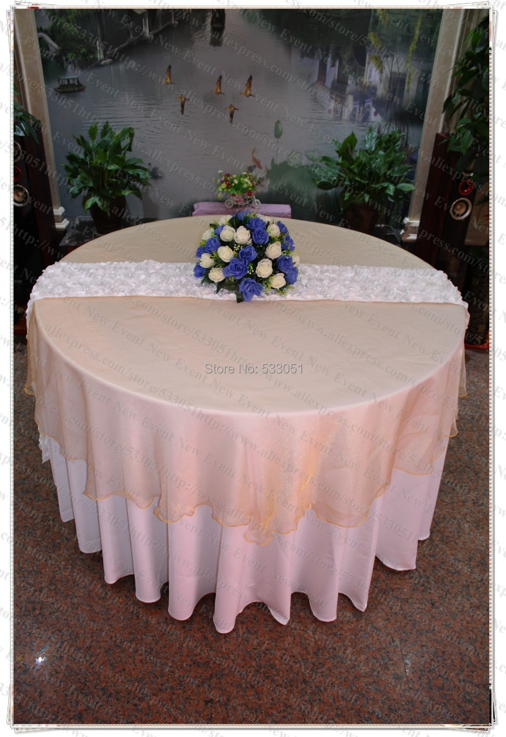 180cm Round NO.6 Gold Color Organza Table Overlay/Table Cover/Tablecloth For Wedding Party Home Hotel Banquet Decorations(China (Mainland))