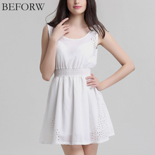 BEFORW Brand New Sexy Womens Dresses Slim Sleeveless Hollow White Women Summer Dress Lady Chiffon Dresses Vestidos Casual(China (Mainland))
