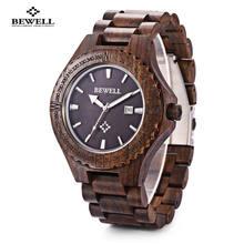 BEWELL vente chaude hommes bois montre étanche Quartz montres en bois bande calendrier de luxe homme robe montre relogio masculino(China)