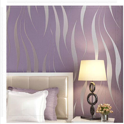 Silver Stripe Wallpaper Purple Non-woven Water Wave Wall Paper Bedroom Living Room TV Background Home Decor papel pared 3D navy(China (Mainland))