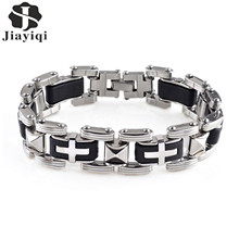 Buy Jiayiqi Fashion Silicone Men Bracelet Punk Cross Stainless Steel Bracelets & Bangles Vintage Male Wrist Jewelry Accessories Gift for $3.54 in AliExpress store