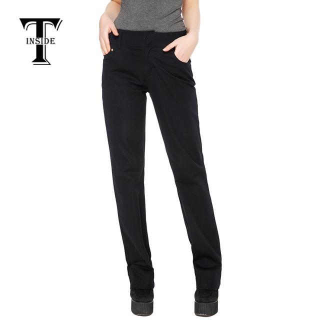 T-Inside 2016, женские прямые штаны черного цвета, одноцветные, высококачественный ...