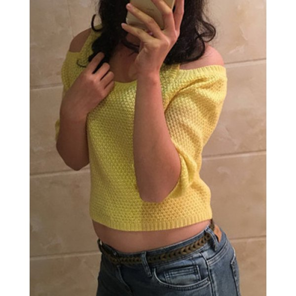 Womens Fashion Candy Color Off the Shoulder Cropped Sweater Cute Knitted Crop Top Ladies Casual Loose Knit Pullovers(China (Mainland))