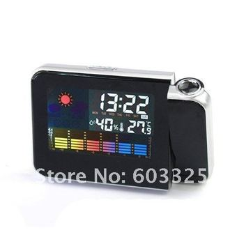 Parents Gift Digital Projection Alarm LCD Clock Multi-Function Temperature Weather Humidity Station