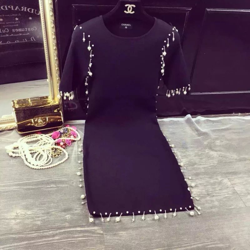 2015 new European fashion France brand hand beading pearls short sleeves solid black female dress women party wear free shipping(China (Mainland))
