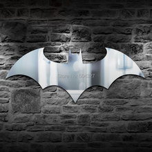 Free Shipping 1Piece Super Hero Wall Mounted Wall Mirror Acrylic Iconic Bat Logo Portable Batman Logo Mirror(China (Mainland))