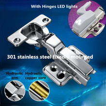 Top Quality furniture hinge Hydraulic buffer 301 Stainless steel fixedly mounted cupboard door hinge with LED light(China (Mainland))