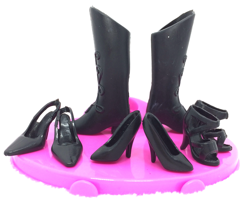 NK 4 pairs/Set Mix Style Black Doll Shoes Fashion  Boot Cute Heels Sandals For Barbie Doll  High Quality Baby Toy<br><br>Aliexpress