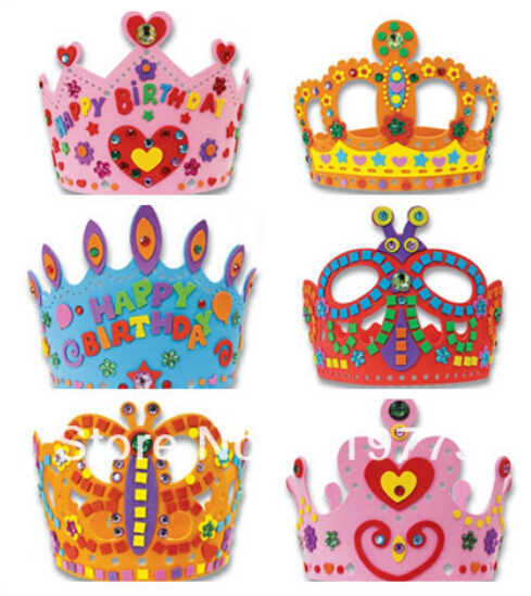 12 pcs lot kids diy handmade eva birthday crown hat for for Art and craft crown