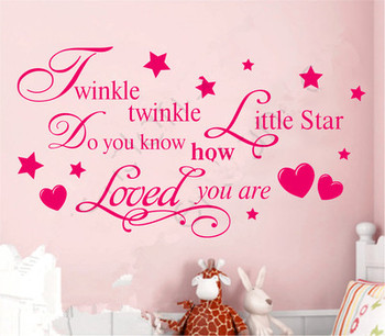 TWINKLE TWINKLE LITTLE STAR QUOTE WALL STICKER Decal KID BEDROOM DIY Removable F