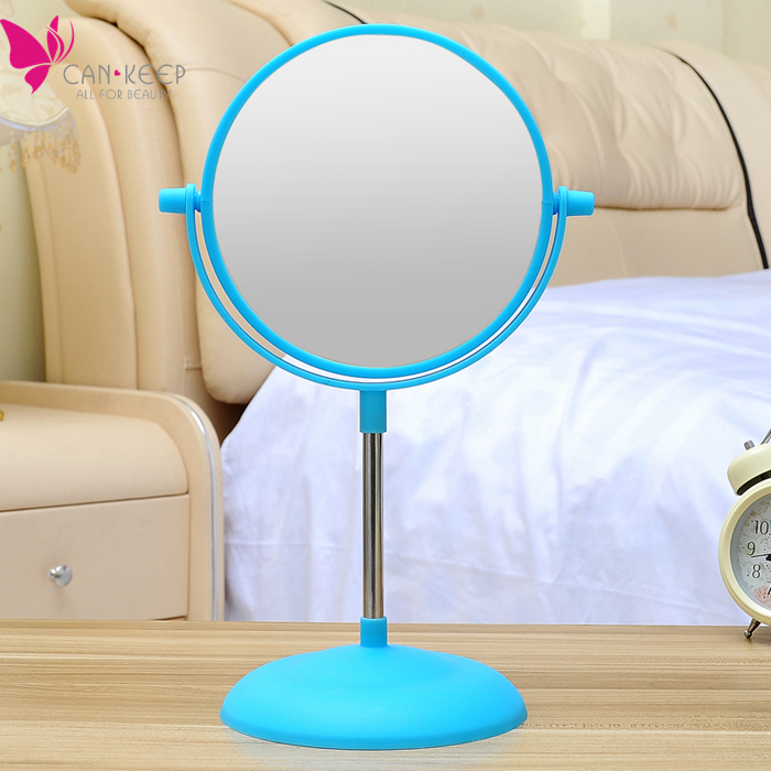 Cute Sweet Blue Color Large Size Desktop Makeup Mirror 6 inch Double Sided Table Mirror European Portable Folded Princess Mirror(China (Mainland))