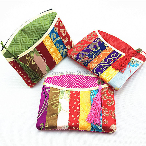 seven color spelling flower Chinese characteristics Brocade silk coin purse Small wallet zero wallet small gifts bag 3pc/lot(China (Mainland))