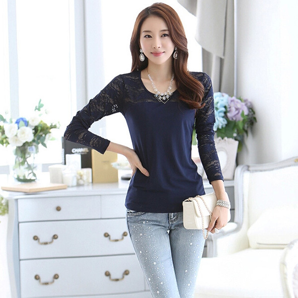 Fashion Women Long Sleeve Skinny T Shirts Bottoming Shirt Casual Basic Tee(China (Mainland))