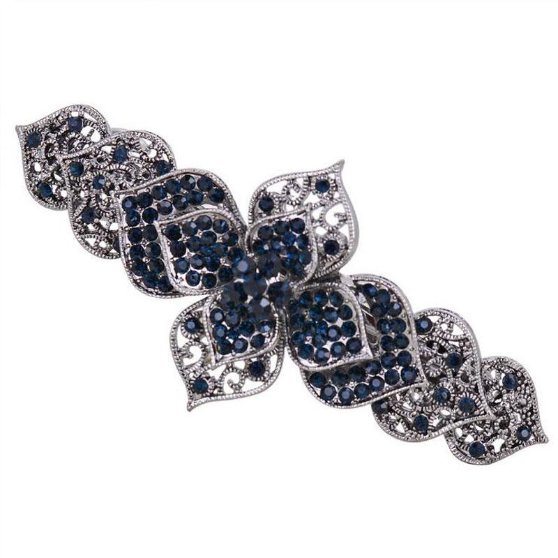 Big Handmade Alloy Flower Hairpin High Quality Brilliant Austria Rhinestone Vintage Blue Hair Clips New Fashion Head Jewelry(China (Mainland))