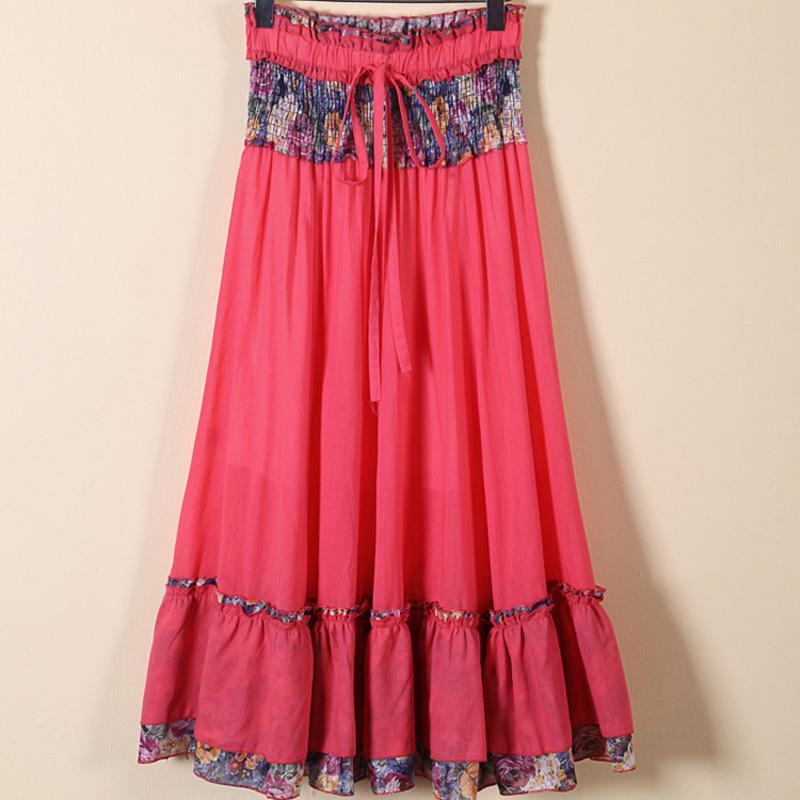 2015 Women Cotton Lace Floral Print High Waist Skirt Ladies Vintage Summer Cute Casual Beach ...