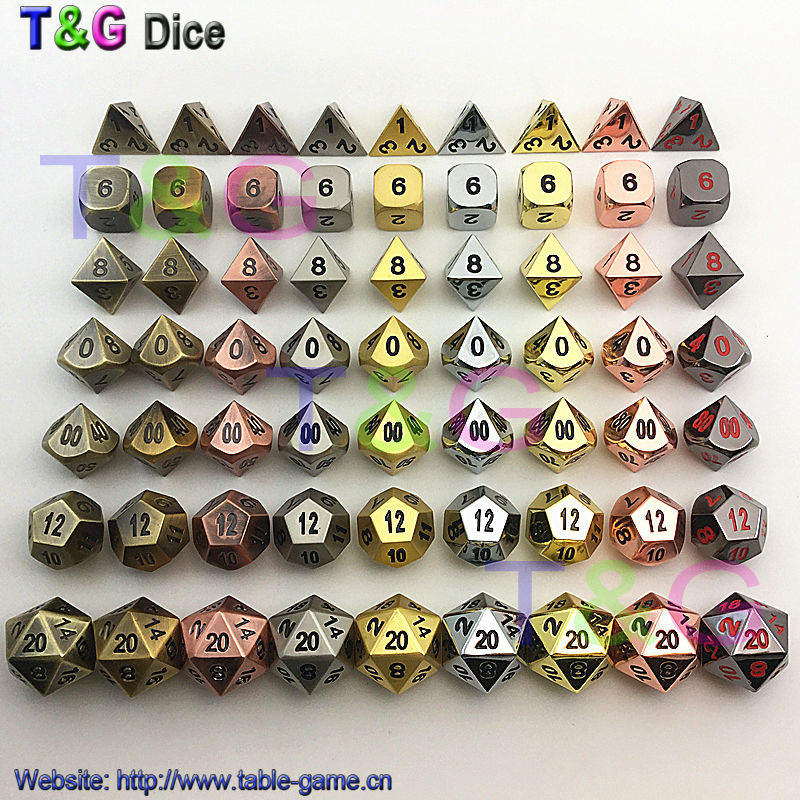 TOP Quality 2016 Hot Metal Dice 7 Dice set d4 d6 d8 d10 d% d12 d20 for Board Games Rpg Dados jogos dnd with boxes for gift(China (Mainland))