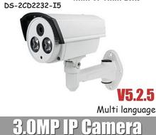Multi-language V5.3.0 DS-2CD2232-I5 3MP Bullet Camera with Bracket Full HD POE Power CCTV Camera(China (Mainland))