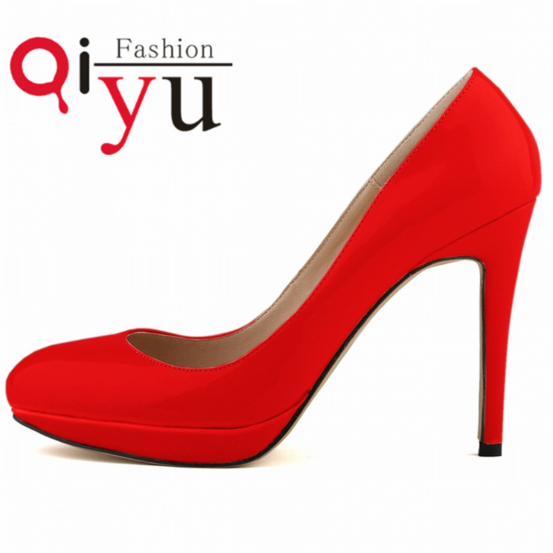 2016 Bridal Shoes Zapatos Mujer Ladies Pumps Round Toe Thin Heel Women Shoes Pumps High Heels Platform 1.5CM Patent Leather