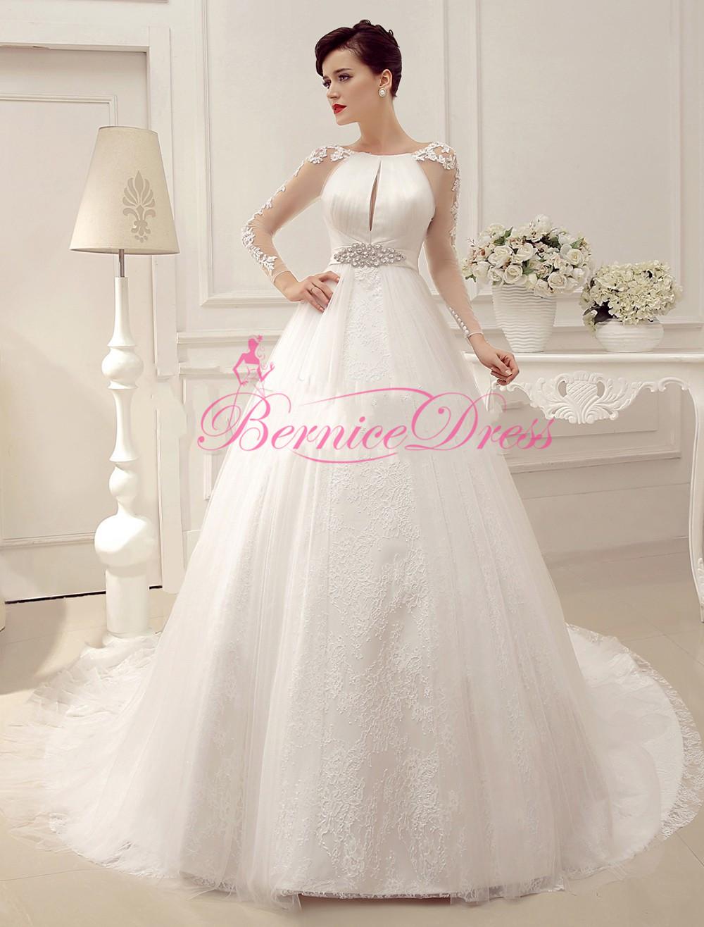 Романтический Vestidos Novia свадьба благородный совок империя суд поезд белый сетки с длинным рукавом пояса Vestido ренда-линии Weding платье