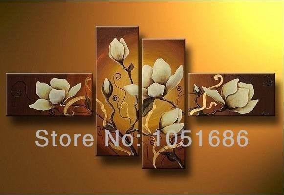 4 Piece Giolla Wall Decor Set : Wall decor picture of orchids canvas hand painted piece