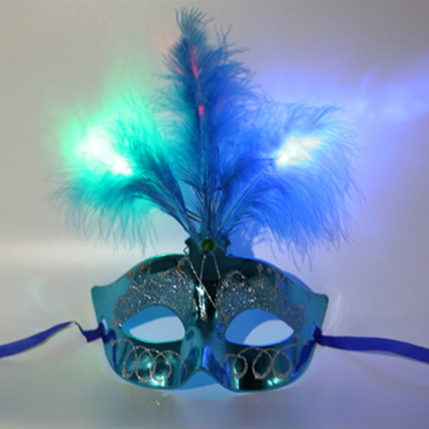 Multi Color Beaming Princess Mask Peacock Feather Half Face PVC Mask Halloween Party Dancing Bauta Mask Cosplay Children Costume