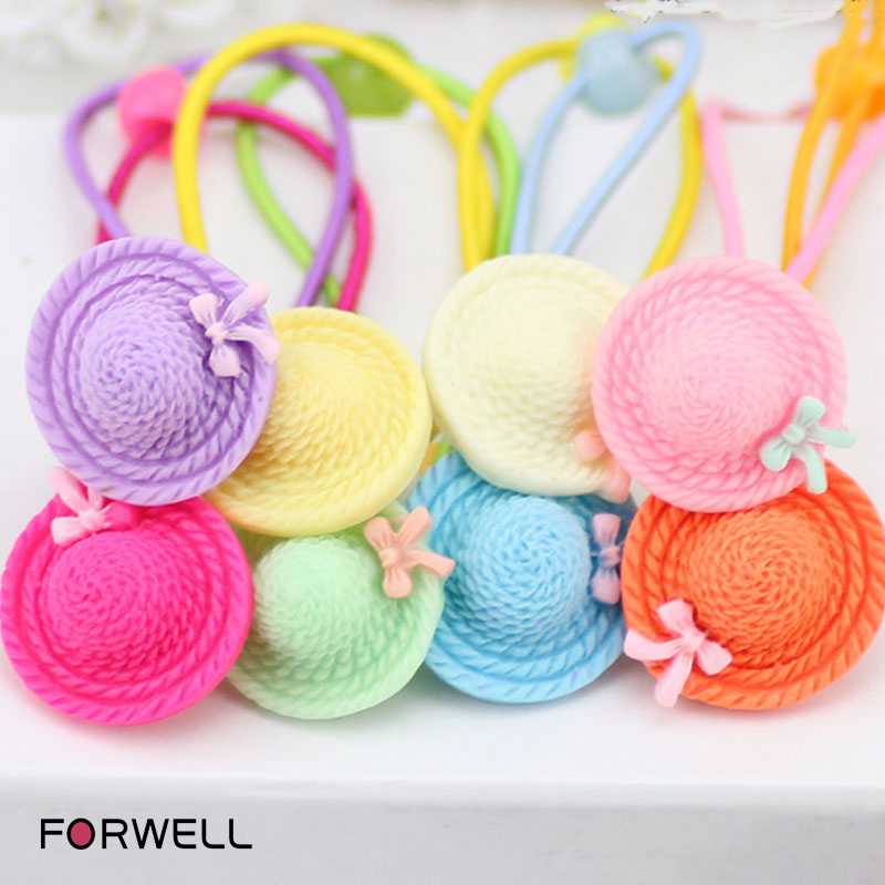 8Pcs/lot Hair accessories for children new arrival cap shape hair rope hair ring baby girl bow rubber band headwear wholesale(China (Mainland))