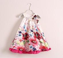 Catimini girls lolita style dress 2014 new Spring&summer kids cute floral print bow sleeve-less dress girls brand princess dress