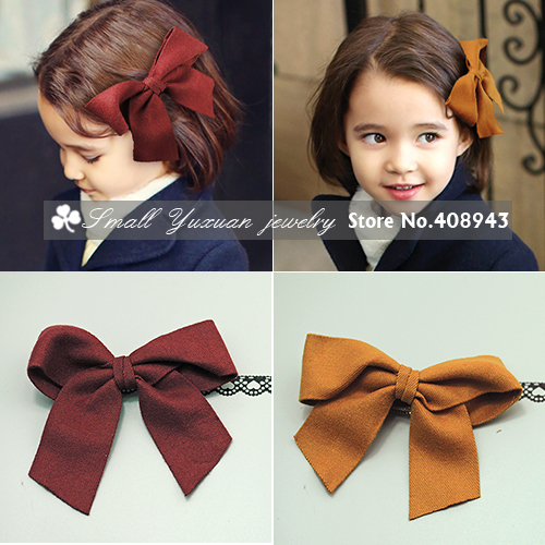 Free shipping New fashion Korea cute Baby Children Girl hair accessories large bow hair clips Wool felt hairpins barrettes!D-933(China (Mainland))
