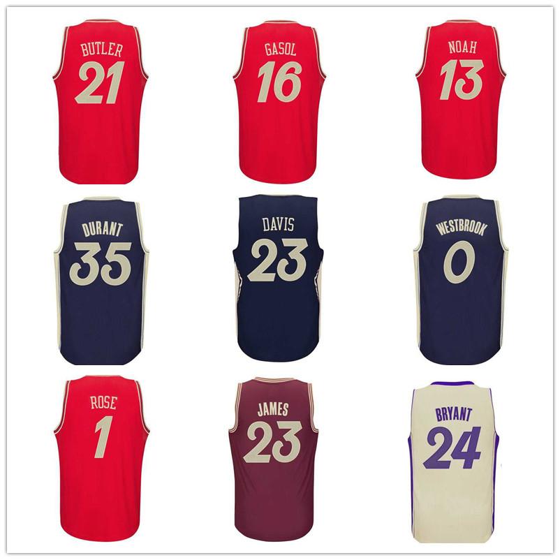 Гаджет  2016 Christmas Basketball Jersey! Kevin Durant 35 Russell Westbrook 0 Derrick Rose 1 Pau Gasol 16 Jimmy Butler 21 Noah Jersey None Спорт и развлечения