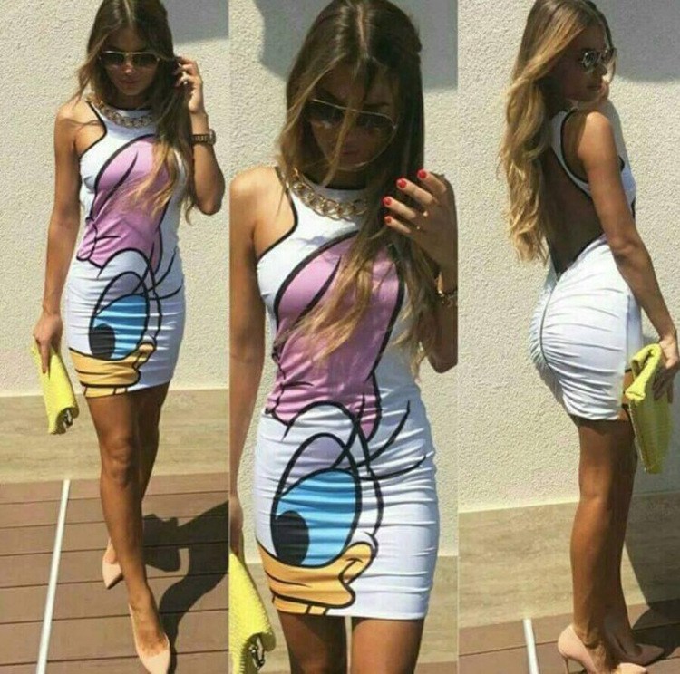 2016 Summer Dresses Women Print Minie Back Hollow Sexy Casual Slim Dress Vestidos Sheath Bodycon Vintage Harajuku Robes(China (Mainland))