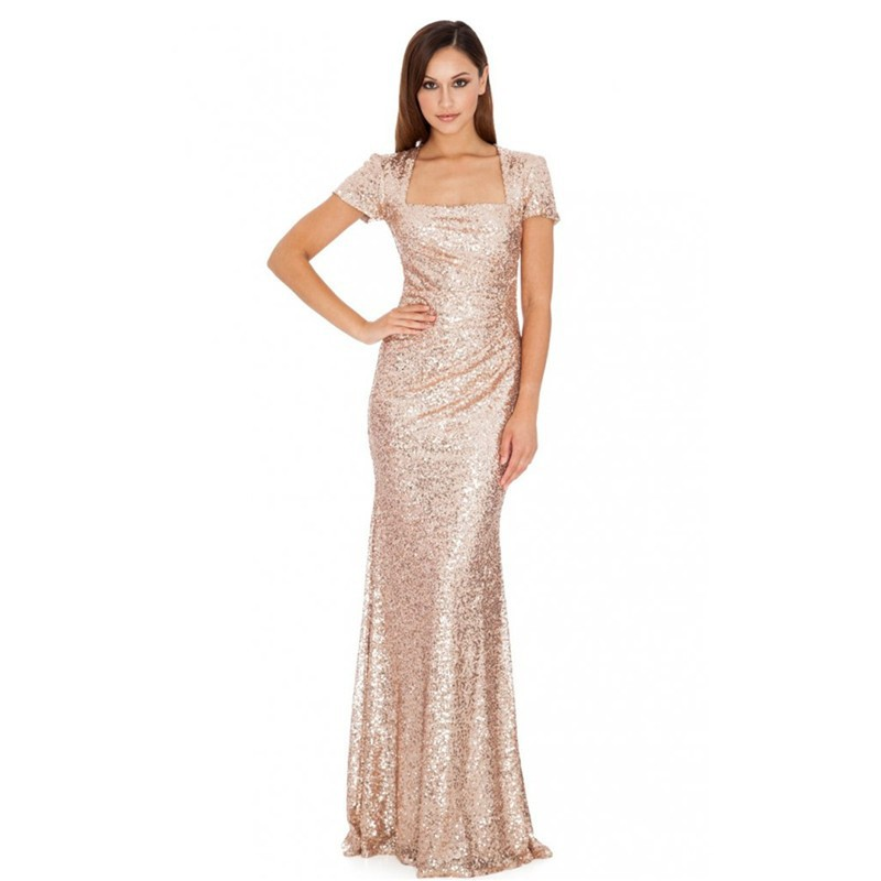 Gold champagne 2016 sheath cap sleeves floor length squins for Sparkly wedding dresses with sleeves