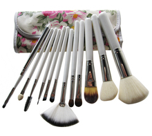 The Riches Peony Pattern 12 pcs White Handle Travel Makeup Brush Set Professional Cosmetic Tool Kit With Convenient Pouch V0173A
