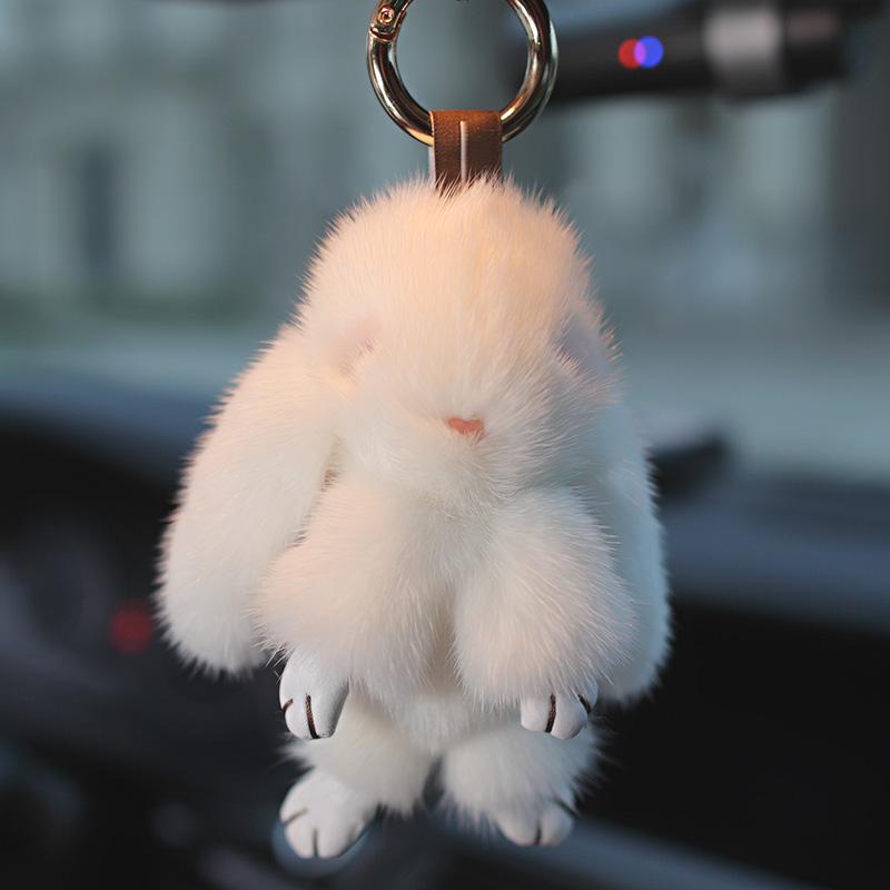 Real Mink fur keychain Cute Rabbit Doll Key Chain Charm Golf Bag Pendant Car Pendant with gift box(China (Mainland))