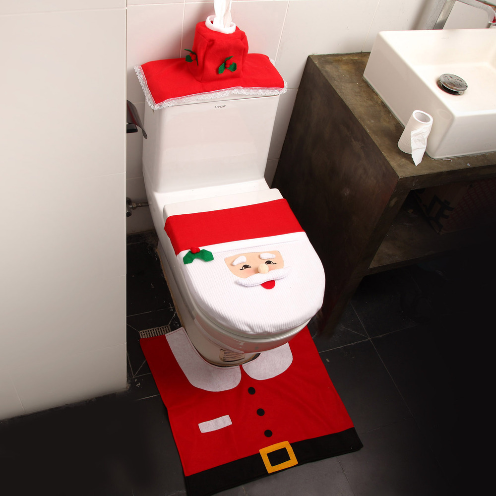 Bathroom Santa Claus Toilet Seat Cover Rug Set