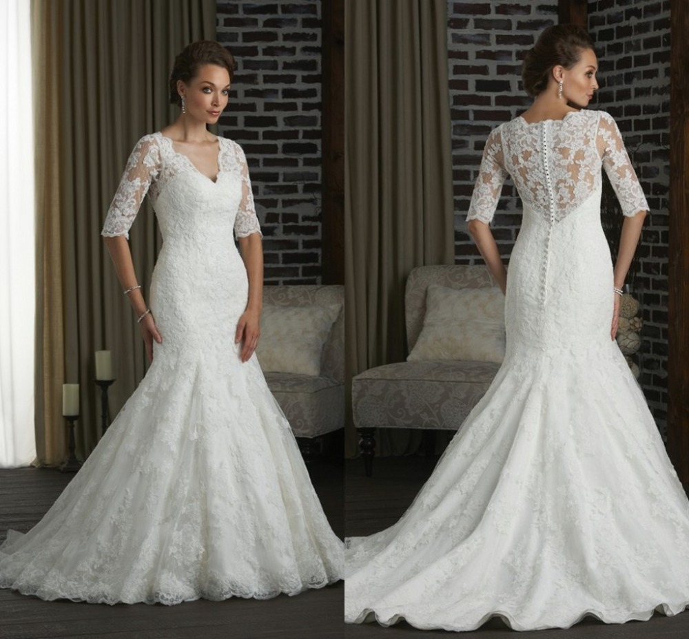 Plus size wedding dresses with sleeves white tulle lace for Plus size trumpet wedding dress with sleeves