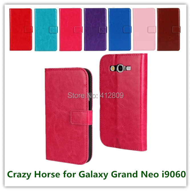 100PCS EMS/DHL Pink Crazy Horse Pattern PU Leather Skin Pouch Smart Case for Samsung Grand Neo Lite i9060 with ID Card Holder(China (Mainland))