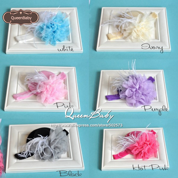 Mini Top Hat headband with Big Mesh Flower and White Feather matching elastic wide headband 120pcs/lot QueenBaby(China (Mainland))