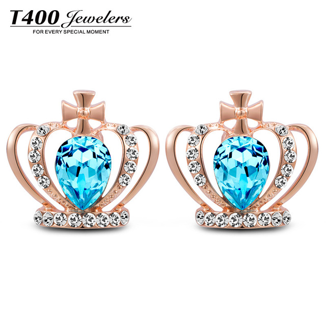2015 new fashion brand stud earrings with new design crown shape